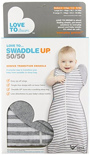 Love To Dream Swaddle UP- 50/50- Gray Stripe- Medium 13.2- 18.7 lbs - 1