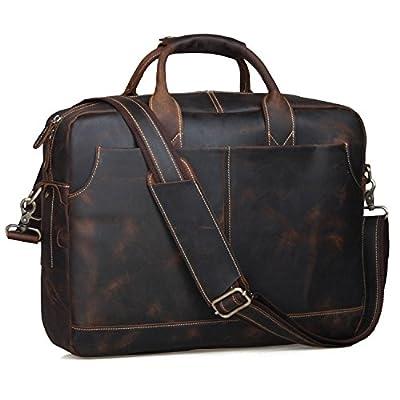 S-ZONE Sac Homme Vintage cuir veritable pour ordinateur portable de 17 pouces sac Messenger