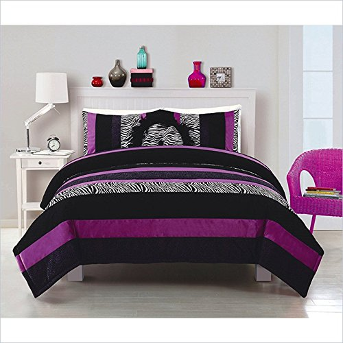 Posh Comforter With Sham In Purple Size: Twin front-1073504