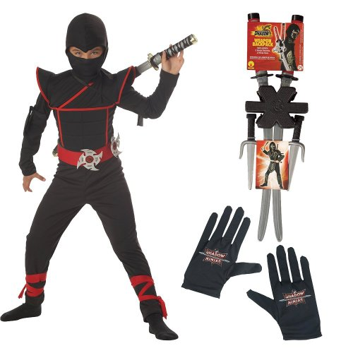 Stealth Ninja Costume With Gloves, Dragon Ninja Weapon Backpack, Husky (8-10)