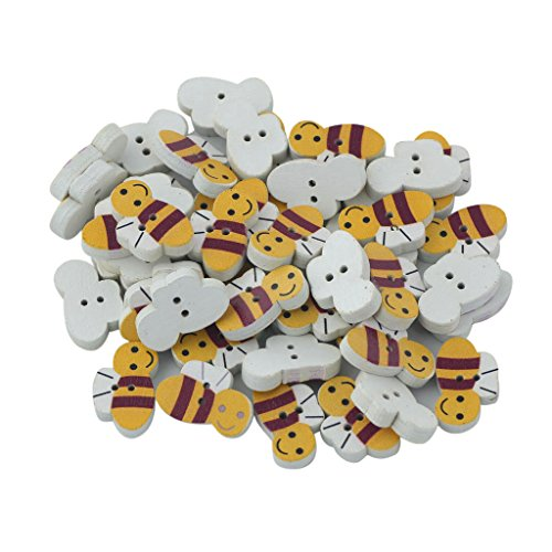 50Pcs Natural Wood Bee Shape Buttons for Sewing and Crafting (Buttons For Sewing And Crafting compare prices)