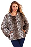 WOMENS LADIES LUXURY GREY LEOPARD SNOW FAUX FUR COAT SHORT JACKET SHRUG SHAWL THROW CAPE BOLERO WRAP WINTER WARM SIZE UK 8-14