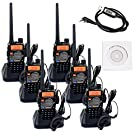 Retevis RT-5RV Walkie Talkie 5W 128CH VHF/UHF 136-174/400-520 MHz CTCSS/DCS Dual Band Dual Standby FM 2 Way Radio Transceiver with Earpiece (6 Pack) and Programming Cable