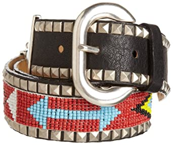 Streets Ahead Women's 1 1/2 Inch Wide Studded  Belt With Beads, Black, X-Large