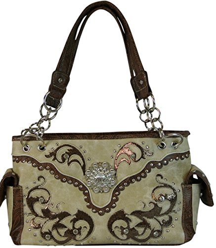 Western Satchel Purse with Rhinestone Concho and Concealed Pocket Beige