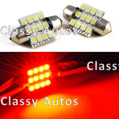 31mm Festoon 12 LEDs SMD LED Bulb BRILLANT RED