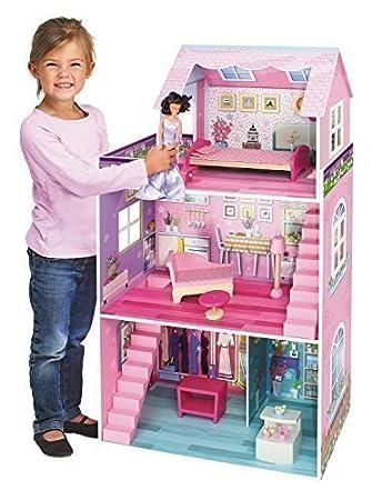 Maison de poupée 'Rose' - de grande taille - en bois - 3 étages - Dim.: 106 x 61 x 29 cm - Couleur: rose
