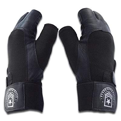 Weight Lifting Gloves - Top Quality Leather Gym Gloves With Wrist Support + FREE Bonuses - Double Stitched Padded Palm + Wrist Wrap - Lifting Gloves For Use In Gym, Weight Training & Weight Lifting - 100% Satisfaction Guarantee by Elite Body Squad