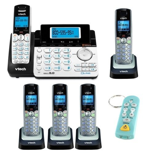 VTech DS6151 2-Line Expandable Cordless Phone with Digital Answering System and Caller ID + VTech DS6101 DECT 6.0 2-Line Accessory CID Handset Speakerphone (Set of 4) + Keychain TV Remote, Flashlight (Remote Telephones compare prices)