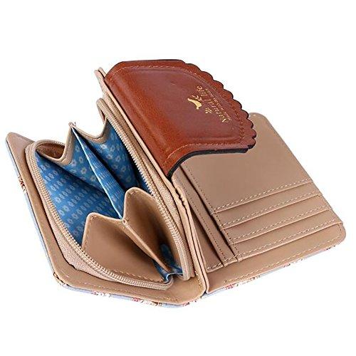 11. ETIAL Women's Vintage Floral Zip Mini Wallet Short Design Coin Purse