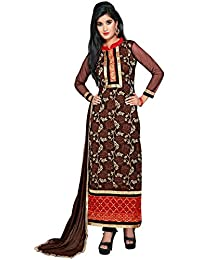 Yehii Semi Stitched Salwar Suit For Women Free Size Party Wear Dress Material Brown | Net , Santoon , Chiffon...