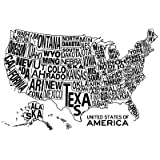 (13x19) United States of America Stylized Text Map Poster