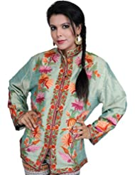 Exotic India Aqua-Green Kashmiri Jacket With Ari Embroidery By Hand - Green