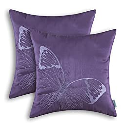 Set of 2 CaliTime Pillows Shells Cushions Covers Faux Silk Vivid Butterfly Embroidered 18 X 18 Inches Purple
