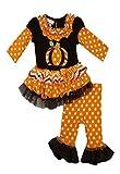 Bonnie Jean Girls Halloween Pumpkin Fall Dress Outfit Set, Brown, 4 - 6X