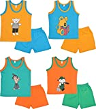 Autumn Splaash Unisex Kids T shirt and Trouser - Pack of 4(Multi-Coloured, 1-2 Years)