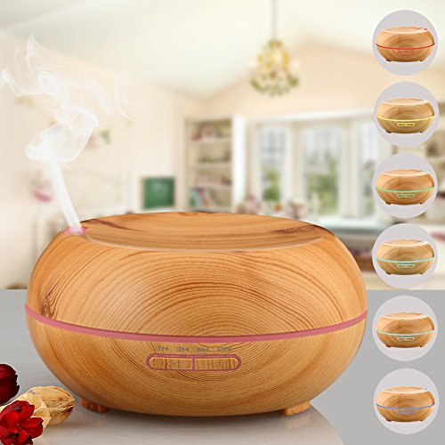 200ml Aroma Essential Oil Diffuser,[2016 NEW Design]URPOWER® Wood Grain Ultrasonic Cool Mist Whisper Quiet Humidifier with 4 Timer Settings 7 LED Color Lights, Waterless Auto Shutoff