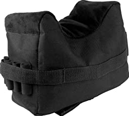 Ultimate Arms Gear Stealth Black QD Universal Pro Series Front 1 Piece Shooting Rifle Shotgun Bolt Action & Muzzle Loader Steady Shooter Support Bench Hand Arm Rest Bag Holds 5 Round Ammo Ammunition Cartridge Holder Range
