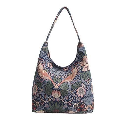 Borsa donna Signare alla moda a spalla borsa hobo William Morris Ladro di fragole blu