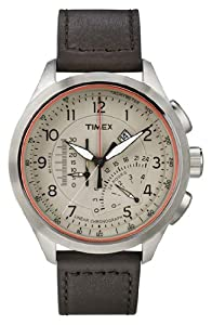 Timex Men's Iq T2P275 Black Leather Analog Quartz Watch with Brown Dial