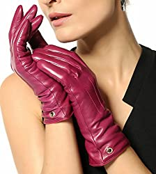Elma Women's Touch Screen Italian Nappa Leather Winter Texting Gloves (7, Violet)