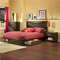 Hot Sale South Shore Back Bay Dark Chocolate Queen Wood Storage Platform Bed 3 Piece Bedroom Set