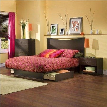 Discover Bargain South Shore Back Bay Dark Chocolate Queen Wood Storage Platform Bed 3 Piece Bedroom...