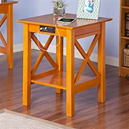 Atlantic Furniture AH10257 Lexi Printer Stand With Charger, Caramel Latte