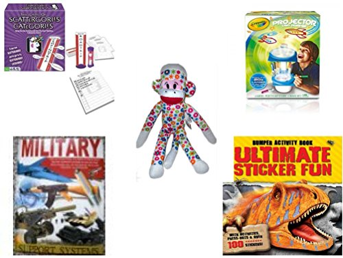 [Children's Gift Bundle - Ages 6-12 [5 Piece] - Scattergories Categories Game: A Fun Twist on the Fast Thinking Original - Crayola Sketcher Projector Toy - Street Players Flower Sock Monkey Plush Toy 15