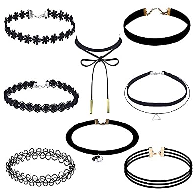 Adecco LLC 8 Pieces Choker Necklace Set Stretch Velvet Classic Gothic Tattoo Lace Choker Necklaces, Black