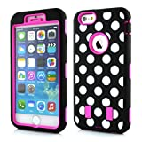 Meaci® Cellphone Case for Iphone 6 Plus 5.5 Inch Case 3 in 1 Combo Hybrid High Impact Body Armorbox Hard Pc&silicone Protective Bumper Case with Polka Dots Luxury Print (pink Polka dots)