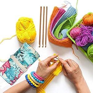 Bamboo Crochet Hooks Knitting Needles Set Kit Wooden Crochet Hooks+ Kntting Bag for Beginners/Professionals(12-Pack) (Color: ?Crochet Hooks + ?Unique Hooks Holder)