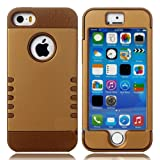 myLife (TM) Bronze + Gold Sheild 3 Layer (Hybrid Flex Gel) Grip Case for New Apple iPhone 5C Touch Phone (External... by myLife Brand Products