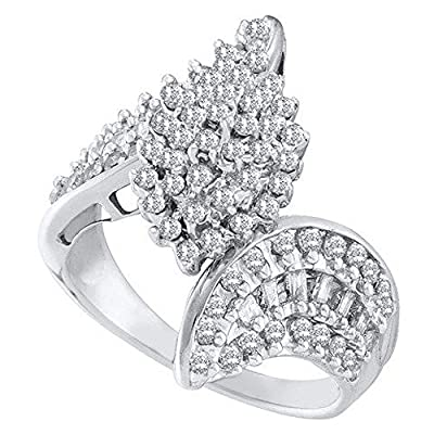 1.00 Carat (ctw) 10K White Gold Round & Baguette Cut Diamond Ladies Cluster Engagement Ring 1 CT