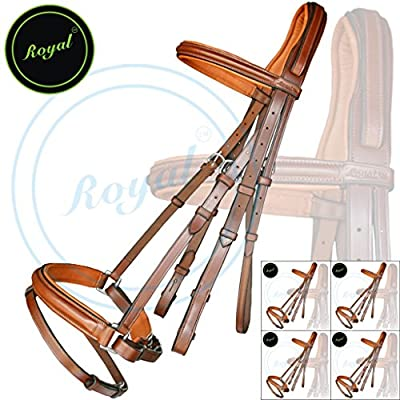 Royal Anti Pressure Cut Head Piece Dressage Bridle & PP Rubber Grip Reins./ Vegetable Tanned Leather./ Stainless Steel Buckles./ Super Saver Pack of 5 bridles.