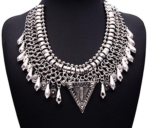 Girl Era Multi Crystal Shape Triangle Pendant Big Knit Chain Choker Chunky Statement Bib Necklace