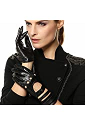 Elma Tradional Women's Italian Nappa Leather Gloves Motorcycle Driving Open Back