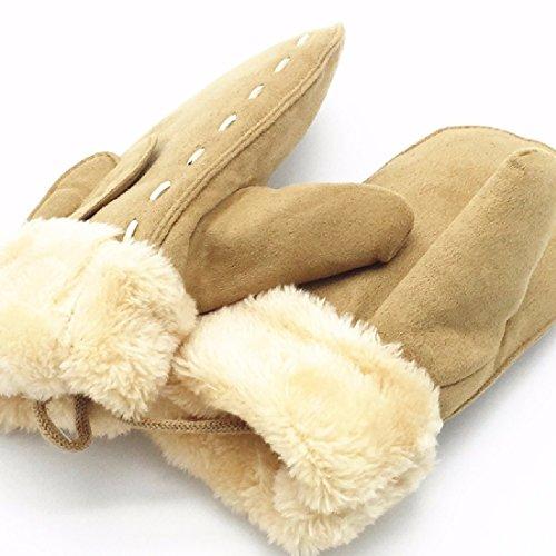 BBSLT Korean children aged 4-8 rabbit ears girls plus velvet suede gloves winter warm mittens,Khaki