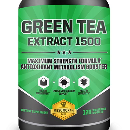 Green Tea Extract 1500 Supplement with EGCG | High Potency Antioxidant For Weight Loss | Heart Healthy Metabolism Booster With A 100% Money Back Guarantee | 60 Day Supply | 120 Vegetarian Capsules (Green Tea Extract Capsules compare prices)