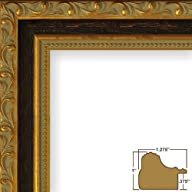 "11×14 Picture / Poster Frame, Ornate Finish, 1.275"" Wide, Rich Gold and Black (9487)"