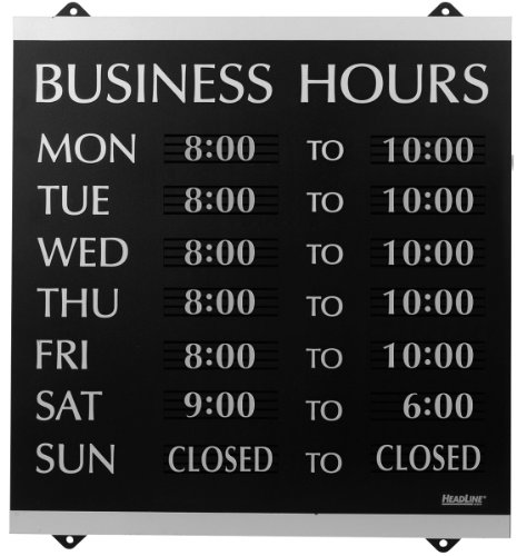 U.S. Stamp & Sign HeadLine Century Series 14×13 Inch Business Hours Sign, Black and Silver, 4247 image