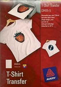 Avery Light C9405-5 Papier transfert pour T-shirts (Import Royaume Uni)