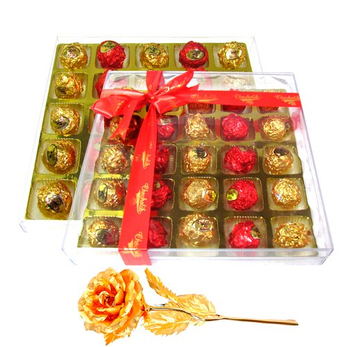 Simply Adorable Collection Of Wrapped Chocolate Box With 24k Gold Plated Rose - Chocholik Luxury Chocolates