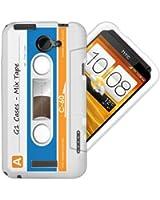 Etui de créateur pour HTC One X - Etui / Coque / Housse de protection blanc, bleu et orange en TPU/gel/silicone avec motif cool cassette rétro