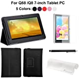 7 inch Black leather case for with standard for Q88 /Q8 Android 4.0 4GB+Black stylus pen