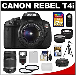 Canon EOS Rebel T4i Digital SLR Camera Body & EF-S 18-55mm IS II Lens with 55-250mm IS Lens + 32GB Card + Case + Flash + Battery + Tripod + 2 Lens Set + Filters + Remote + Accessory Kit