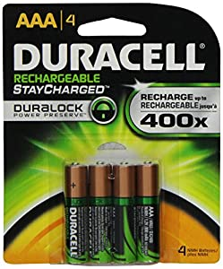 Duracell Rechargeables StayCharged AAA Batteries, 4-Count