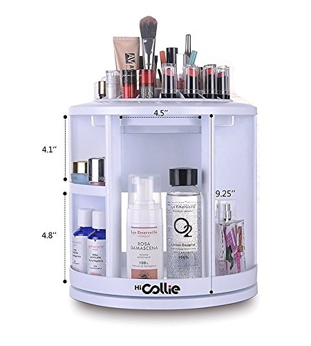 HiCollie Makeup/Cosmetic Organizer Equipped 360 Rotating /Revolving Cosmetic Storage Tabletop Big Capacity Carousel New Sturdy Stylish 2016 White (Tabletop Cosmetic Organizer compare prices)