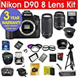 513JEDUjsEL. SL160  Nikon D90 12.3 MP Digital SLR Camera (IMPORT) with 8 Lens Deluxe Camera Outfit # Nikon 18 55 VR Lens # Nikon 70 300 G Lens + 42X Super Wide Angle Fisheye Lens + 2X Telephoto Lens (doubles the power of your lens) # Extra Rechargable Battery + 2 UV Filters + Circular Polarizing Filters # 2 Cases (holster case plus system case) + 2 Tripods (full size & mini travel) + 6 Piece Starter Kit