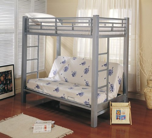 Twin Futon Metal Bunk Bed in Silver Finish